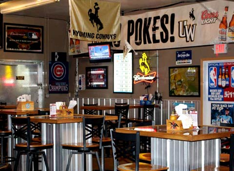 Relaxed atmosphere casual dining Wyoming Cowboys Football games